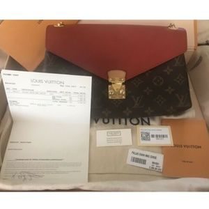 Louis Vuitton Womens Bag Shoulder Clutch Red Brown